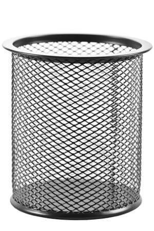 rejecting: Empty black trash bin isolated on a white background Stock Photo