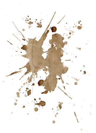 paper mess: Brown coffee with milk stains and splatters isolated on a white background
