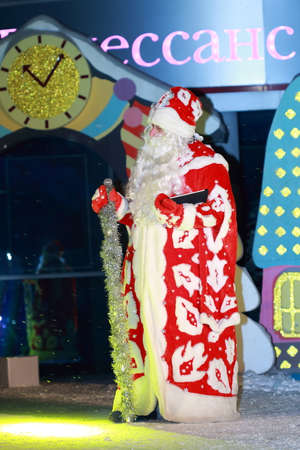 'ded moroz': Pyatigorsk, Russia - December 31, 2015: Free for all show in a square near the City Administration building to celebrate New Year. Ded Moroz Father Frost on a stage. Father Frost in Russia is in lieu of Santa Claus
