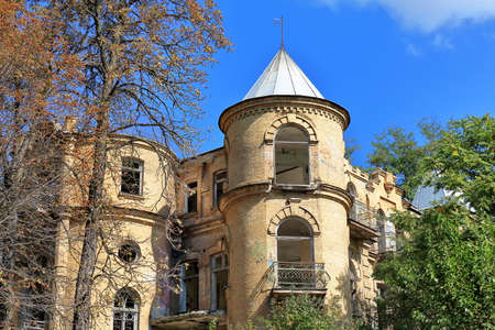 monument historical monument: Pyatigorsk, Russia - October 4, 2015: The Half-ruined Elsas Dacha in Pyatigorsk, Russia. The historical monument of architecture in poor condition