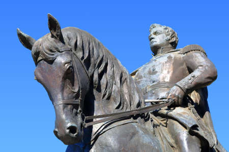 commanded: Pyatigorsk, Russia - October 19, 2015: Equestrian monument to General Yermolov Russian Imperial general of the 19th century who commanded Russian troops in the Caucasus War. Focus on horse Editorial
