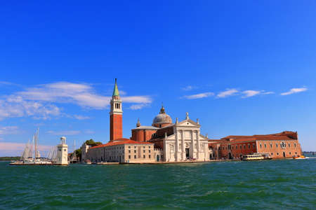evening church: Venice, Italy - August 21, 2015: View to facade of Church of San Giorgio Maggiore from Venetian Lagoon at evening