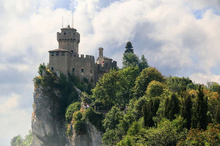 Beautiful view of the medieval tower De La Fratta or Cesta located on the highest of Monte Titano's summits in San Marino republic.