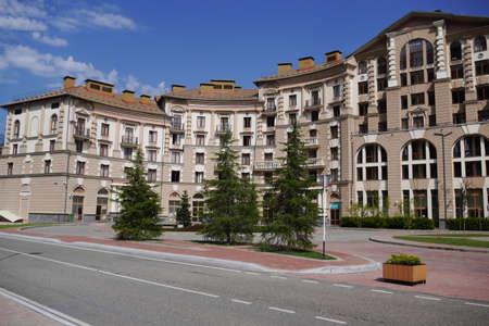 gorki: Sochi, Russia - August 23, 2016: View of the street and the hotel building in Gorki City. Krasnaya Polyana, Sochi, Russia