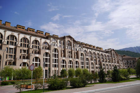 gorki: Sochi, Russia - August 23, 2016: View of the buildings of Gorki City Apartments. Krasnaya Polyana, Sochi, Russia