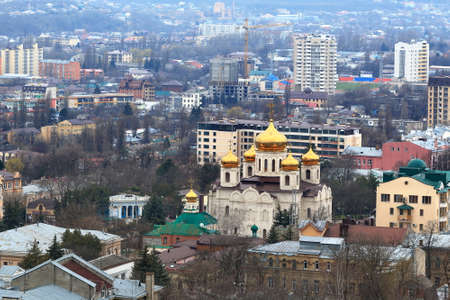 spassky: View from the slope of Mount Mashuk towards the Spassky Cathedral in Pyatigorsk, Russia Editorial