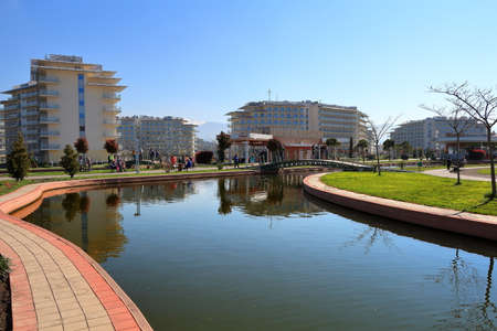 Adler, Russia - April 4, 2017: View of the decorative pond in Sochi Park Hotel in Adler, Krasnodar Region, Russia Editorial