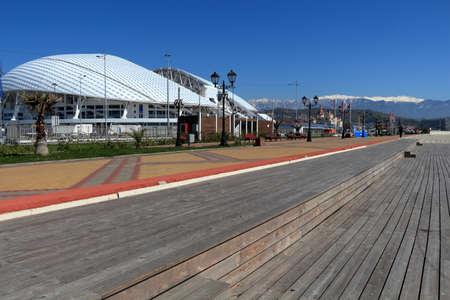 Adler, Russia - April 4, 2017: View of the Olympic embankment and the Fisht stadium. Sochi, Krasnodar Region, Russia