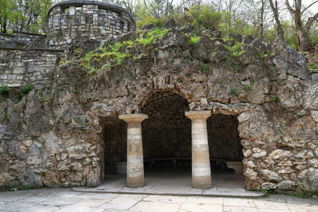 The artificial created Dianas Grotto in Tsvetnik Park in Pyatigorsk. Stavropol Region, Russia