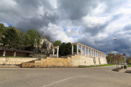provincial tourist area: Colonnade in the resort area on Gagarin Boulevard in Pyatigorsk. Stavropol Territory, Russia. Editorial