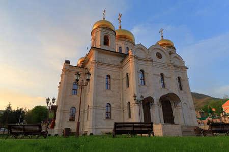 Pyatigorsk, Russia - April 29, 2017: Church of Christ the Savior (Spassky Cathedral) at sunset. Pyatigorsk, Stavropol Region, Russia