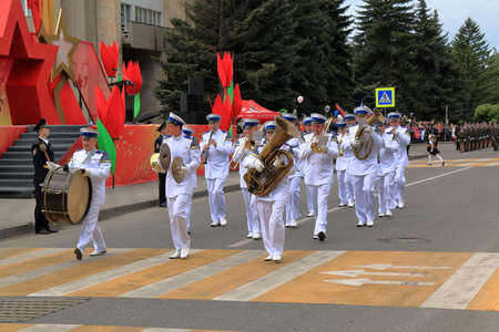 Pyatigorsk, Russia - May 9, 2017: Musicians of the military orchestra is marched in the Parade dedicated to the Victory Day in the Great Patriotic War. Pyatigorsk, Stavropol Region, Russia