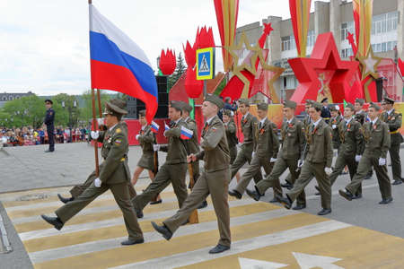 Pyatigorsk, Russia - May 9, 2017: Opening parade dedicated to the Victory in the Second World War in Pyatigorsk, Russia