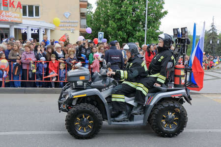 garrison: Pyatigorsk, Russia - May 9, 2017: Rescue all-terrain vehicle of garrison of fire protection (Fire Department in Pyatigorsk). Parade in honor of the Victory Day in the Second World War