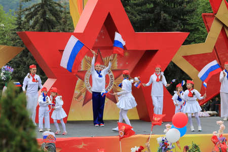Pyatigorsk, Russia - May 9, 2017: The exemplary choreographic ensemble Edelweiss on a stage in Pyatigorsk. Parade in honor of the Victory Day in the Second World War