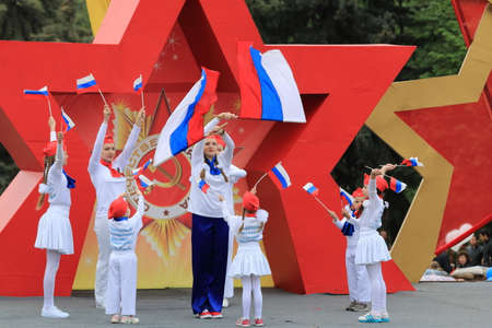 second floor: Pyatigorsk, Russia - May 9, 2017: The exemplary choreographic ensemble Edelweiss on a stage in Pyatigorsk. Parade in honor of the Victory Day in the Second World War