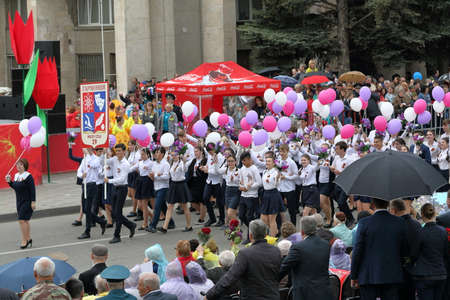 pyatigorsk: Pyatigorsk, Russia - May 9, 2017: Column of pupils of Secondary school No. 29 in Pyatigorsk. Parade in honor of the Victory Day in the Second World War