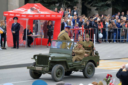 Pyatigorsk, Russia - May 9, 2017: Willys MB (commonly known as a Jeep) are four-wheel drive utility vehicles that were manufactured during World War II. The Victory Day Parade in Pyatigorsk