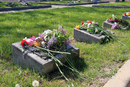 Pyatigorsk, Russia - May 9, 2017: Memorial of Military Glory in Pyatigorsk. Flowers on the graves of soldiers who died during the Great Patriotic War Editorial