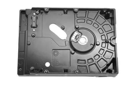 databank: View of the back side of the computer hard disk drive (HDD) with removed circuit board Stock Photo