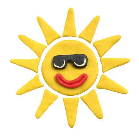 Yellow sun with smile in black sunglasses. Plasticine. Isolated on a white background. The concept of childrens creativity or sunny weather