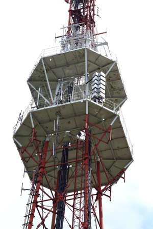 TV tower with telecom equipment in Pyatigorsk, Russia. A television tower was constructed in 1957 Stock Photo