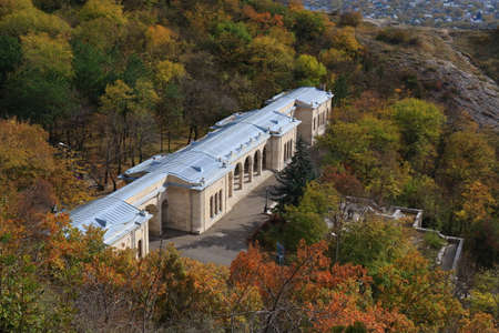 View from the Goryachaya mountain (spur of Mount Mashuk) to the Elisabeth (Academic) Gallery. Built in 1851 by the project of Samuel Upton in Pyatigorsk,Northern Caucasus, Russia