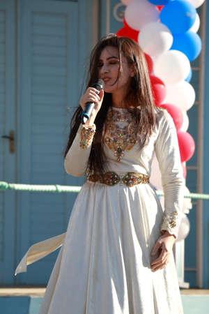Pyatigorsk, Russia - November 4, 2017: The singer Fatima Kitayeva from the Karachay-Cherkess Republic. Free concert in the Tsvetnik Park in Pyatigorsk. National Unity Day in Russia Editorial