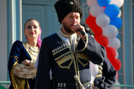 Pyatigorsk, Russia - November 4, 2017: Cossacks on the stage sing the Cossack songs. Festival of national literatures of the people of Russia. A free concert in honor of National Unity Day Editorial