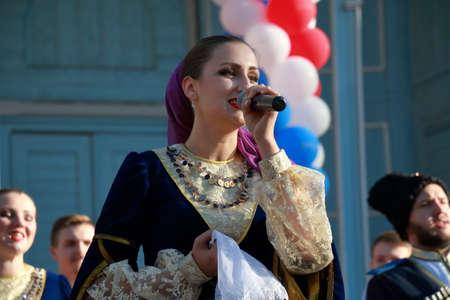 Pyatigorsk, Russia - November 4, 2017: Soloist of Cossack chorus close-up. Festival in honor of National Unity Day in Tsvetnik Park in Pyatigorsk, Stavropol Region, Russia