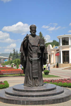 Kislovodsk, Stavropolsky Region, Russia - July 16, 2017: Sculpture of St. Nicholas the Wonderworker on Kurortny Boulevard in Kislovodsk. The monument was opened on July 1, 2016