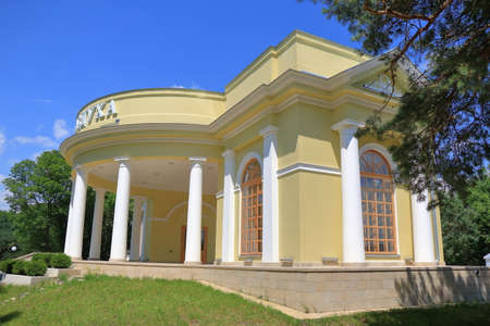 Temple of Air (Hram Vozdukha) building in Kurortny Park in Kislovodsk, Russia. This is a free public self-service library. You can bring here old or unnecessary books or exchange one book to another.