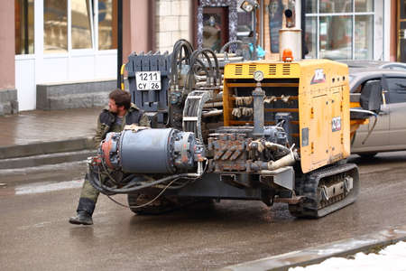 Pyatigorsk, Russia - January 29, 2018: Horizontal Directional Drilling Rig XCMG XZ180 moving on a street in Pyatigorsk