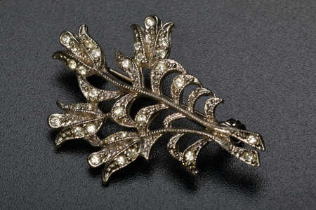 Brooch in form of the golden plant with diamonds. Bijouterie, decorative accessory Stock Photo
