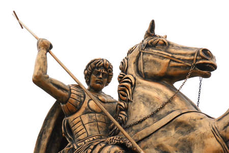 Georgievsk, Stavropolskiy kray, Russia - February 15, 2018: Sculpture of Saint George close-up. The monument is located in the town square in center of Georgievsk. Sculptor Kamil Aliyev