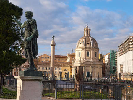 The bronze sculpture depicting Roman Emperor Trajan, located near the ruins of Trajans Forum and the Trajans Column in Rome, Italy Editorial