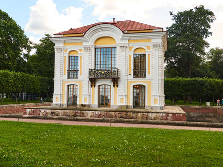 Peterhof, St. Petersburg, Russia - August 3, 2017: The Peterhof Hermitage was designed by Johann Braunstein, and was begun in 1721. Located In the west section of the Lower Park in Peterhof