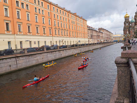 St. Petersburg, Russia - August 6, 2017: Journey through the Griboedov canal of St. Petersburg. View of beautiful ancient buildings