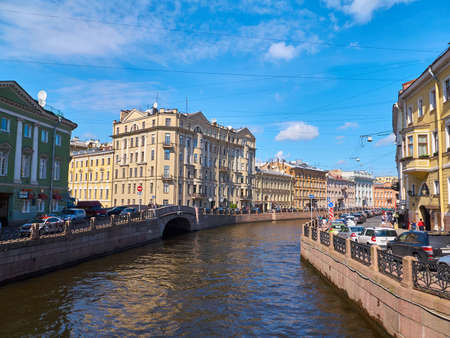 St. Petersburg, Russia - August 8, 2017: Old bridge and buildings on the Moika River in Saint Petersburg Editorial