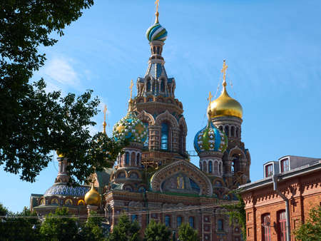 Saint Petersburg, Russia - August 9, 2017: The Church of Our Savior on the Spilled Blood. This Russian-style church was built on the spot where Russian Emperor Alexander II was assassinated in March 1881