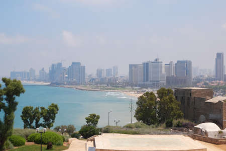 Tel Aviv-Jaffa, Israel - June 5, 2017: View of the Tel Aviv with skyscrapers on the coastline of Mediterranean Sea from the Amphitheater in the Abrasha Park in Old Jaffa