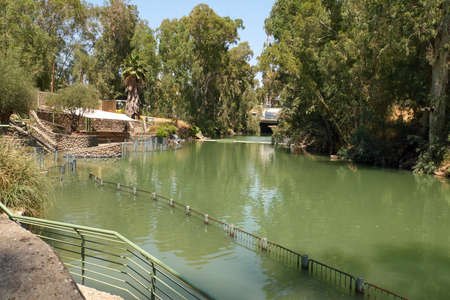 Yardenit baptism site on a Jordan River in Israel. While the Jordanian location was inaccessible (in military zone), a modern site commemorating Christ's baptism was established at Yardenit in Israel.