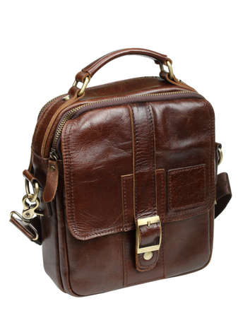 Brown leather mans bag isolated on a white background