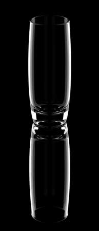 Empty highball glass to serve mixed drinks with reflection isolated on a black background. 3D illustration Reklamní fotografie