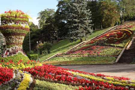 Decorative flower beds in the Park in Pyatigorsk, Russia. Inscription from flowers: Pyatigorsk, August 13, 2018