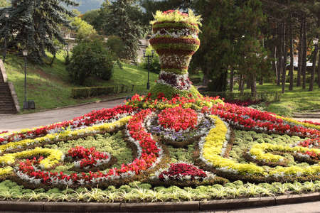 Decorative flower bed in the form of a vase in the Park in Pyatigorsk, Russia Stok Fotoğraf
