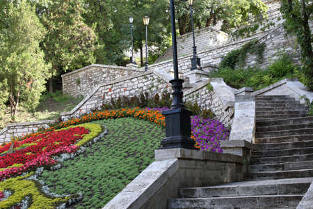 Old stone staircase in a Public Park near Academic Gallery (historical name is Elizabeth Gallery, was built in 1851). Pyatigorsk, Russia