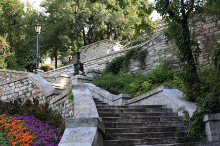Old stone staircase in a Public Park near Academic Gallery (historical name is Elizabeth Gallery, built in 1851). Pyatigorsk, Russia Stock Photo