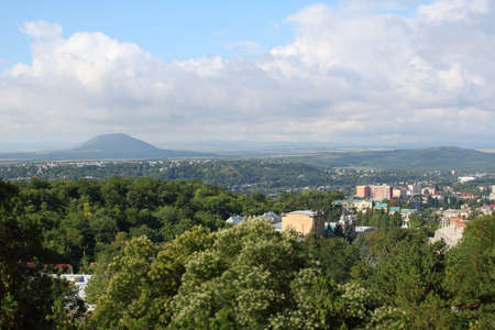 Panoramic view of Pyatigorsk from Mashuk Mountain in a summer day. Pyatigorsk is a resort town in Stavropol Region, Russia Stock Photo