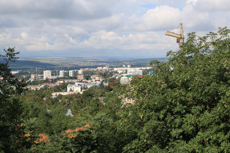 Panoramic view of Pyatigorsk from Mashuk Mountain in a summer day. Pyatigorsk is a resort town in Stavropol Region, Russia Stok Fotoğraf